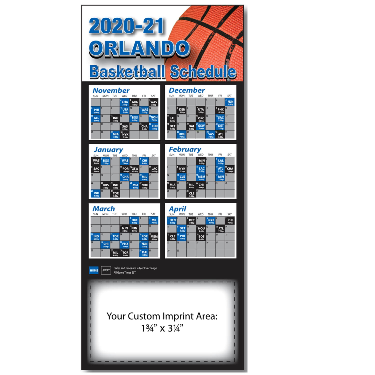 Item: Magnet-21325 - Basketball Pro Team  Sked
