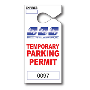 Item: T13052 -Totally Custom Paper Hanging Parking Tags