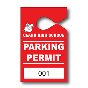 Item: T13053 -Totally Custom Semi-Rigid Vinyl Hanging Parking Tags